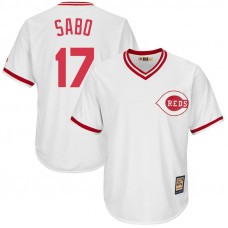 Chris Sabo #17 Cincinnati Reds Replica Cooperstown Collection White Cool Base Jersey