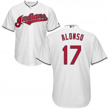 Cleveland Indians #17 Yonder Alonso Home White Cool Base Jersey