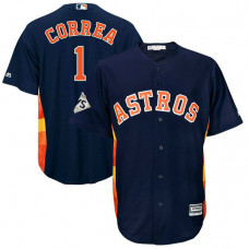 Carlos Correa #1 Houston Astros 2017 World Series Bound Navy Cool Base Jersey