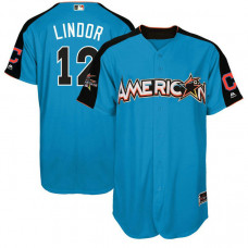 2017 All-Star American League Cleveland Indians Francisco Lindor #12 Blue Home Run Derby 2017 All-Star American League Jersey