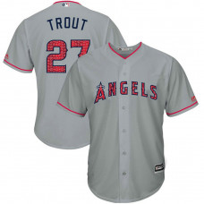 Los Angeles Angels Independence Day #27 Mike Trout 2017 Stars & Stripes Grey Cool Base Jersey