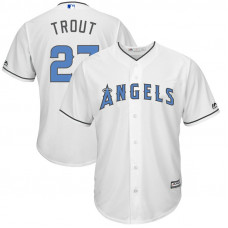 Los Angeles Angels #27 Mike Trout White Cool Base Jersey 2017 Father's Day