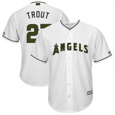 Los Angeles Angels #27 Mike Trout White Cool Base Jersey 2017 Memorial Day