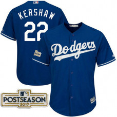 Clayton Kershaw #22 Los Angeles Dodgers 2017 Postseason Royal Cool Base Jersey