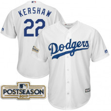 Clayton Kershaw #22 Los Angeles Dodgers 2017 Postseason White Cool Base Jersey