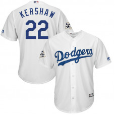 Clayton Kershaw #22 Los Angeles Dodgers 2017 World Series Bound White Cool Base Jersey