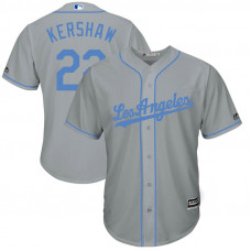 Los Angeles Dodgers #22 Clayton Kershaw Grey Cool Base Jersey 2017 Father's Day