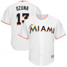 Miami Marlins #13 Marcell Ozuna Home White Cool Base Jersey