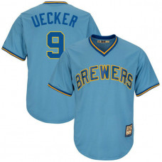 Bob Uecker #9 Milwaukee Brewers Replica Cooperstown Collection Light Blue Cool Base Jersey