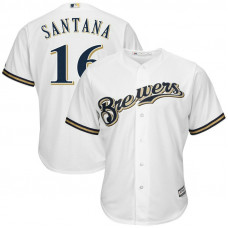 Domingo Santana #16 Milwaukee Brewers Replica Home White Cool Base Jersey