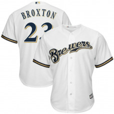 Keon Broxton #23 Milwaukee Brewers Replica Home White Cool Base Jersey
