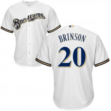 Lewis Brinson #20 Milwaukee Brewers Home White Cool Base Jersey