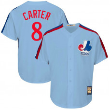 Gary Carter #8 Montreal Expos Replica Cooperstown Collection Light Blue Cool Base Jersey