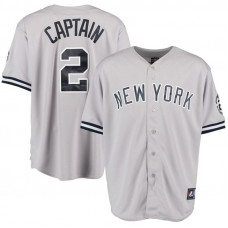 New York Yankees #2 Derek Jeter Captain Retirement Patch Road Grey Cool Base Jersey