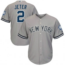 New York Yankees #2 Derek Jeter Retirement Patch Road Grey Cool Base Jersey