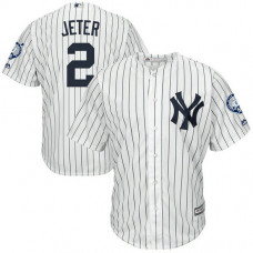 New York Yankees #2 Derek Jeter Retirement Patch Home White Cool Base Jersey