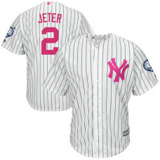 New York Yankees #2 Derek Jeter White Cool Base Jersey 2017 Mother's Day