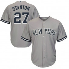 New York Yankees #27 Giancarlo Stanton Replica Road Grey Cool Base Jersey