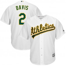 Oakland Athletics #2 Khris Davis Replica Home White Cool Base Jersey