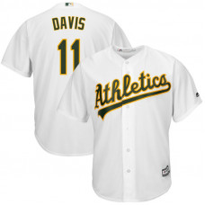 Oakland Athletics #11 Rajai Davis Replica Home White Cool Base Jersey