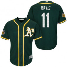 Oakland Athletics #11 Rajai Davis 2017 Spring Training Cactus League Patch Green Cool Base Jersey