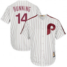 Jim Bunning #14 Philadelphia Phillies Replica Cooperstown Collection White Cool Base Jersey