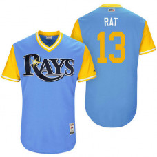 Tampa Bay Rays Brad Miller #13 Rat Light Blue Nickname 2017 Little League Players Weekend Jersey