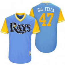 Tampa Bay Rays Chase Whitley #47 Big Fella Light Blue Nickname 2017 Little League Players Weekend Jersey