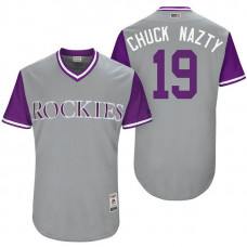 Colorado Rockies Charlie Blackmon #19 Chuck Nazty Grey Nickname 2017 Little League Players Weekend Jersey