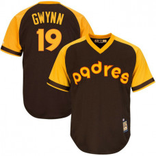 San Diego Padres #19 Tony Gwynn Replica Cooperstown Brown Cool Base Jersey