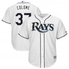 Alex Colome #37 Tampa Bay Rays Replica Home White Cool Base Jersey