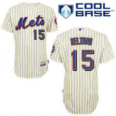 New York Mets #15 Carlos Beltran Cream Blue Strip Alternate Jersey
