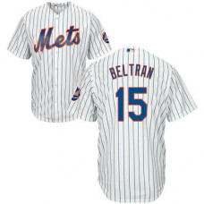 New York Mets #15 Carlos Beltran White Blue Strip Home Jersey