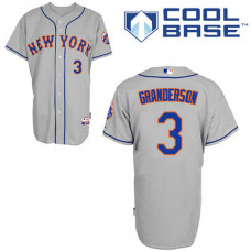 New York Mets #3 Curtis Granderson Authentic Grey Away Cool Base Jersey