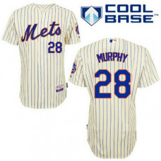 New York Mets #28 Daniel Murphy Authentic Cream Home Cool Base Jersey