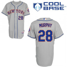 New York Mets #28 Daniel Murphy Authentic Grey Away Cool Base Jersey