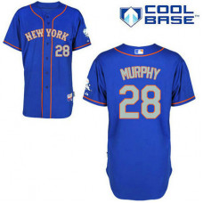 New York Mets #28 Daniel Murphy Authentic Royal Blue Alternate Away Cool Base Jersey