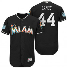 Miami Marlins A.J. Ramos #44 Black 2017 Spring Training Grapefruit League Patch Authentic Collection Flex Base Jersey