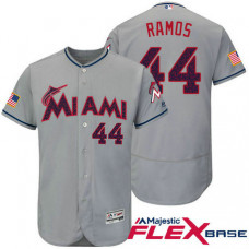 Miami Marlins #44 A.J. Ramos Grey Stars & Stripes 2016 Independence Day Flex Base Jersey