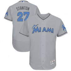 Giancarlo Stanton #27 Miami Marlins 2017 Father's Day Grey Flex Base Jersey
