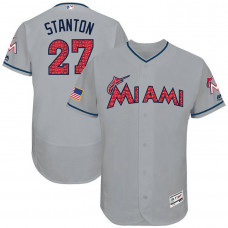 Giancarlo Stanton #27 Miami Marlins 2017 Stars & Stripes Independence Day Grey Flex Base Jersey