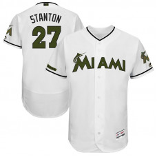 Giancarlo Stanton #27 Miami Marlins 2017 Memorial Day White Flex Base Jersey