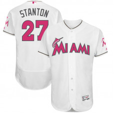 Giancarlo Stanton #27 Miami Marlins 2017 Mother's Day White Flex Base Jersey