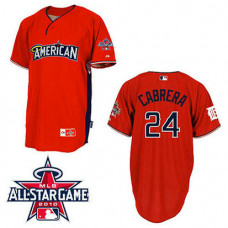 Detroit Tigers #24 Miguel Cabrera American League 2010 All Star BP Red Jersey