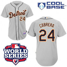 Detroit Tigers #24 Miguel Cabrera Cool Base Grey with 2012 World Series Patch Jersey