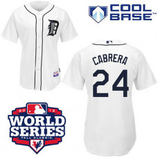 Detroit Tigers #24 Miguel Cabrera Cool Base White with 2012 World Series Patch Jersey