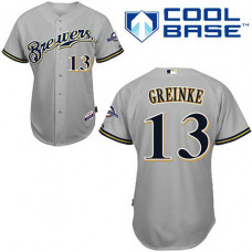 Milwaukee Brewers #13 Zack Greinke Grey Away Jersey