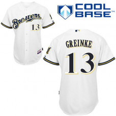Milwaukee Brewers #13 Zack Greinke White Home Jersey