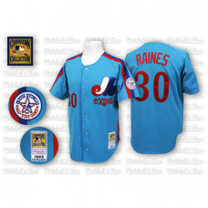 Montreal Expos #30 Tim Raines Blue Throwback Jersey
