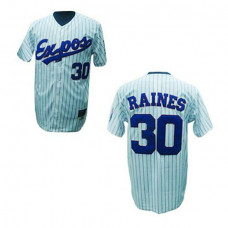 Montreal Expos #30 Tim Raines White(Black Strip) Jersey